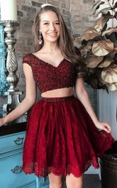 V-neck Lace Short Sleeve Short Two Piece Homecoming Dress with Beading and Pleats