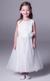Sleeveless Bow Tea-Length A-Line Satin Flower Girl Dress