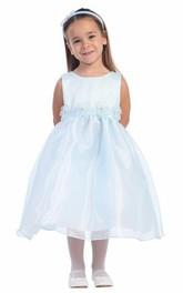 Layered Satin Sleeveless Tea-Length Organza Flower Girl Dress