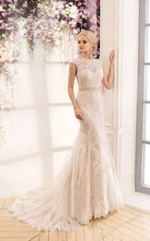 Bell Beaded Sash Trumpet Appliqued Bat Wedding Dress