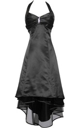 Haltered A-line Satin High-low Dress With Broach