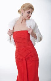 Ivory Faux Fur Cape With Long Sleeves
