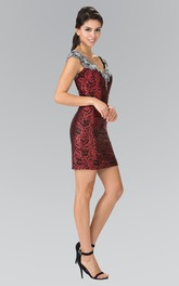 Pencil Short V-Neck Cap-Sleeve Sequins Keyhole Dress