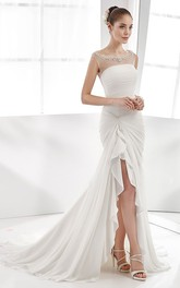 Scoop-neck Ruched Sheath Dress With Beading And Split Front