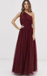 Burgundy One Shoulder Tulle Bridesmaid Dress With Ruching And Open Back