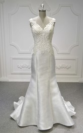Sleeveless V-neck Lace Satin Mermaid Wedding Dress With Ruching And Illusion Back