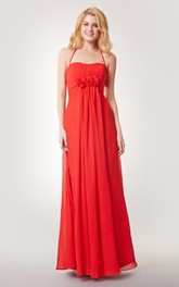 A-line Ruched Long Chiffon Dress With Spaghetti Straps