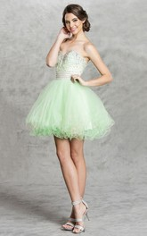 A-Line Backless Jeweled Ruffled Short Mini Strapless Sweetheart Sleeveless Dress
