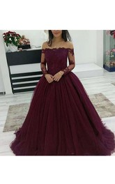 Modern Off-the-shoulder Illusion Lace Long Sleeve Tulle Ball Gown Dress