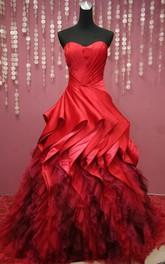 Full-Length Lace Tulle Sweetheart Bell Pick-Up Pleats Lace-Up Ball Gown