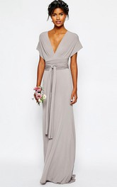 Plunged Poet-sleeve Jersey Long Dress With bow