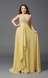 A-line Floor-length One-shoulder Sleeveless Chiffon Beading Ruching Draping Dress