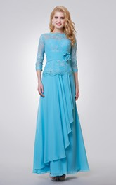 Lace Side Draping Long 3-4-Length-Sleeve Gown
