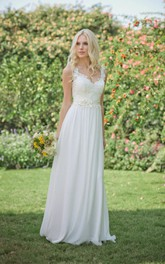 Chiffon Jewel Floral Bridal Floor-Length Long Lace Dress
