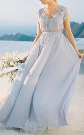 V-neck Short Sleeve Tulle Chiffon long Dress With Flower