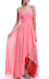 Sweetheart Criss cross Front-split Chiffon Bridesmaid Dress