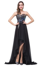 Chiffon Hi-Lo Brush Train Prom Black Newest Peacock Dress