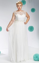 Bateau Sleeveless Lace Tulle Pleated plus size wedding dress With Beading
