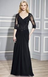 Short-Sleeve Beaded V-Neckline Ruched Formal Dress