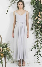 Ankle-Length Sleeveless Spaghetti Pleated Chiffon Bridesmaid Dress