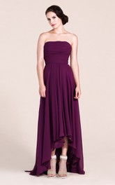 High-Low Ruched Floor-Length A-Line Strapless Long Dress