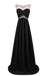 Bateau Sleeveless Criss cross Ruched A-line Dress With Beading And Keyhole