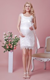 Short Pregnant High-Waistline Cap-Sleeve Lace Dress