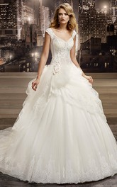 Cap-sleeve Lace Pick Up Tulle Ball Gown With Beading And Chapel Train