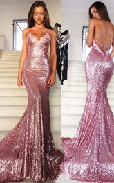 Formal Trumpet Spaghetti Party Sequined Glamorous Gown