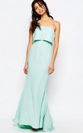 Ankle-Length Sheath Strapless Chiffon Bridesmaid Dress With Brush Train