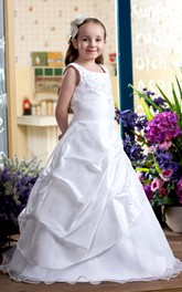 Lace-Up Back Appliqued Bateau-Neckline Flower Girl Dress