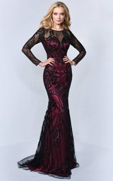 Trumpet Illusion Sequined Full-Length Scoop-Neck Tulle Long-Sleeve Satin Dress