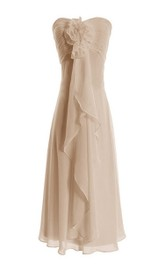 Sweetheart Chiffon Empire short Bridesmaid Dress With Ruching And Flower