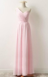 blushing One-shoulder Sleeveless Chiffon Long Bridesmaid Dress
