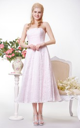 blushing Strapless A-line Tea-length Dress With Lace