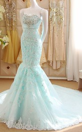 Mermaid Short Sweetheart Sleeveless Bell Beading Appliques Court Train Corset Back Tulle Lace Dress