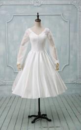 Tea-Length Illusion-Sleeve V-Neckline Wedding Gown