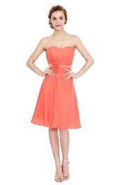 Sleeveless Floral Waist Sweetheart Glamorous Chiffon Dress