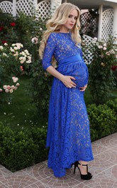 A-line Bateau Sashed 3/4 Length Sleeve Ankle-length Lace Maternity Dress