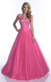 Cap-Sleeve Crystal Top Tulle A-Line Quinceanera Dress
