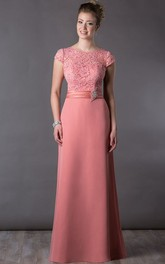 Scoop-neck Cap-sleeve long Jersey Dress With Appliques