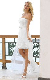 Strapless Ruched Pencil short Dress With Lace