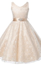 Lace Rhinestoned Bow V-Neckline Sleeveless Gown