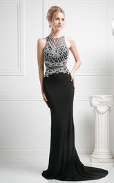 Pencil Keyhole Beaded Long Jewel-Neck Jersey Sleeveless Court-Train Dress