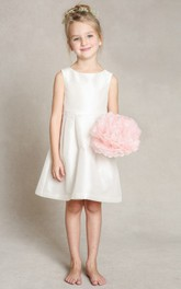 Long Bowknot A-Line Satin Flower Girl Dress