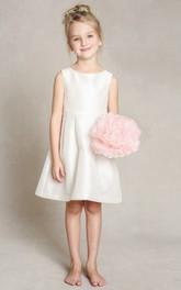Long Bowknot A-Line Satin Flower Girl Dress
