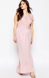 Scoop-neck Short Sleeve Chiffon Pencil Long Dress With Lace