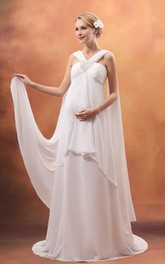 Haltered Chiffon Empire long maternity Dress With Beading And Sweep Train