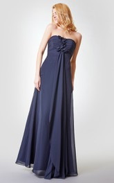 A-Line Draping Chiffon Ruched Backless Floor-Length Dress