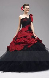 One-shoulder Ball Gown Sleeveless Taffeta Tulle Floor-length Wedding Dress with Ruching and Ruffles